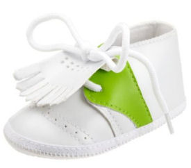 Green and white baby golf shoes match argyle baby golf clothes and apparel for a baby boy and pink is available for a girl