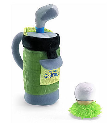 Soft plush baby golf clubs toys to match clothes and shoes given as baby shower gifts