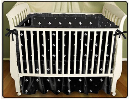 Elegant gothic black and white skulls baby crib bedding set for a goth or punk baby nursery theme