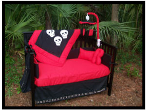 Gothic Skull Baby Bedding for a Punk Goth Nursery Theme