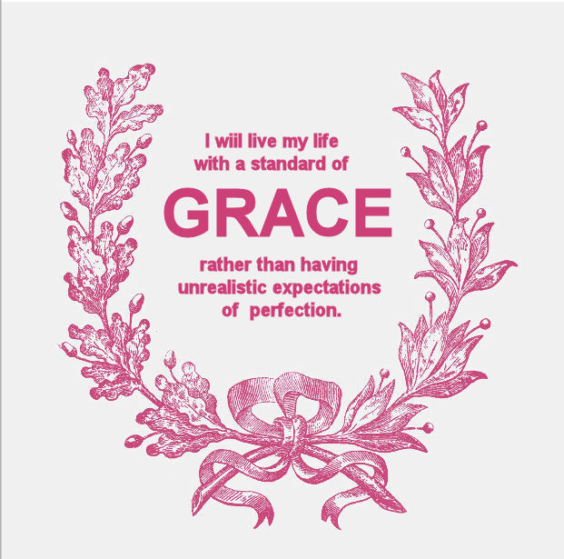 Inspirational vintage style baby girl Grace saying quote quotation in pink and antique white framed by a wreath of leaves tied with a bow