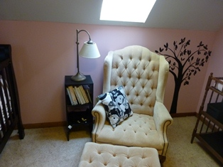 Black Painted Tree Mural that I Painted on the Pink Nursery Wall