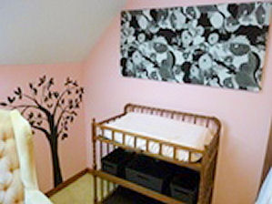 Pink and gray baby girl nursery wall decorating ideas with DIY crafts and wall art painting