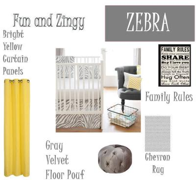 Yellow, Gray and White Zebra and Chevron Stripes Baby Nursery Ideas