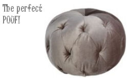 Tufted charcoal gray velvet pouf ottoman for a baby nursery room
