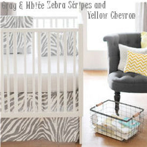 Gray zebra baby nursery bedding and decorating ideas with yellow and white chevron stripes pattern