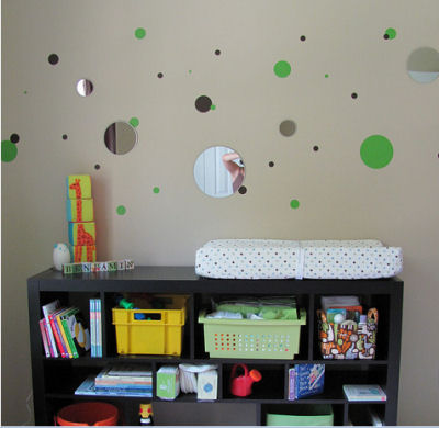 Benjamin's Personalized Green and Brown Polka Dots Nursery Decor with a Cute Splash of Bright Orange