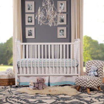 Grey and white neutral baby nursery design ideas featuring chevron and zebra stripes.