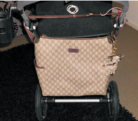 Authentic designer Gucci baby diaper changing bags look amazing on any stroller