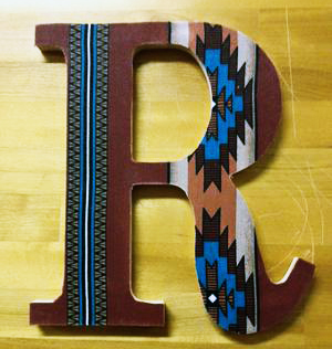 Custom made hand painted letter R wooden wall letter for a kids room or baby nursery with a western theme