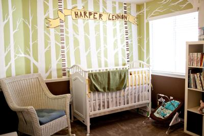 Lime Green and Brown Gender Neutral Nursery with Tree Wall Painting Technique