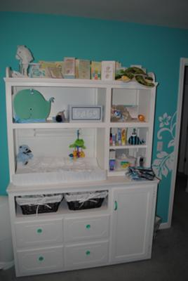 White Painted Nursery Furniture in our Baby's Blue Hawaiian Nursery