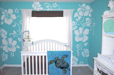 Blue and White Hawaiian Baby Boy Nursery Decor with Sea Turtle Theme Crib Bedding