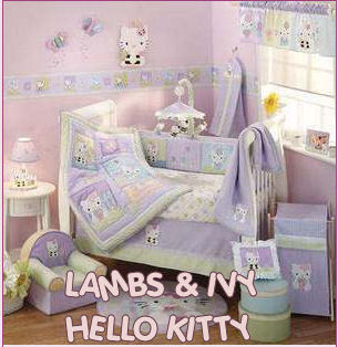 Pink Hello Kitty 4 piece nursery bedding set with baby room decorations, mobile and wall decor