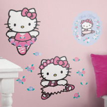 Giant Hello Kitty ballerina theme wall stickers and decals for a ballet theme nursery or a big girl bedroom