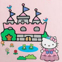 Big vinyl Hello Kitty Princess castle wall decals and stickers
