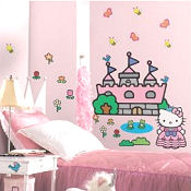 Princess Hello Kitty baby nursery wall stickers and decals for a girls pink room theme