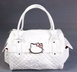 Easy to clean quilted white Hello Kitty baby diaper bag