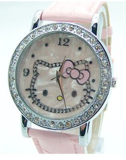 Hello Kitty wrist watch with pink band and faux diamonds around the face
