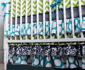 Homemade DIY ruffled baby crib bed skirt pattern