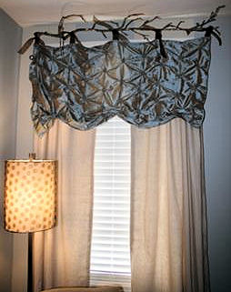 Elegant tucked pleated tie top homemade nursery window valance
