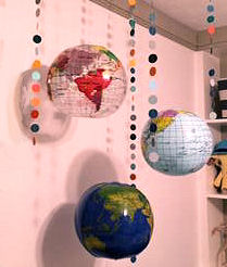 Homemade world globe baby mobile