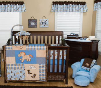 Rocking horse theme baby bedding set for a western cowboy nursery