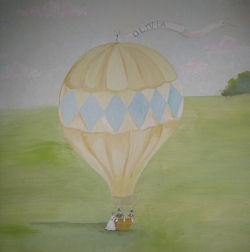 personalized english garden hot air balloon drawing painting