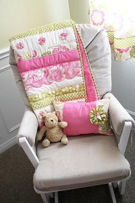 The Nursery Rock w Pooh Bear and the Baby's Pink and Green Crib Quilt Made by Mom