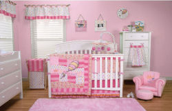 Pink baby girl dr seuss oh the places you'll go theme hot air balloon nursery crib bedding set