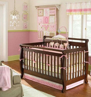 Vintage style baby girl soft pink and green nursery crib bedding set with hearts and flowers