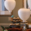 Hot Air Balloon Baby Shower Decorations made from paper lanterns