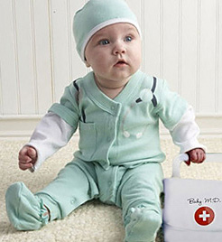 Infant future baby doctor Halloween costume ideas tutorial pattern medical bag stethoscope nurse