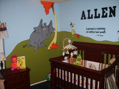 "Horton Hears A Who and Dr Seuss quote ""A person's a person no matter how small."" and Sam I Am - the crib and night stand"