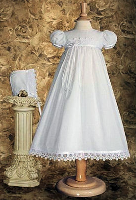 Elegant heirloom baby christening gown trimmed with fine Italian lace