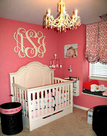 Elegant Pink Black And Ivory Baby Nursery Room Fit For A Princess With Large Circular