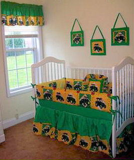 Yellow and green custom made John Deere baby crib bedding for a baby boy farm themed nursery room theme
