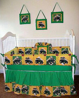 John Deere Tractor themed baby nursery room ideas in green and yellow