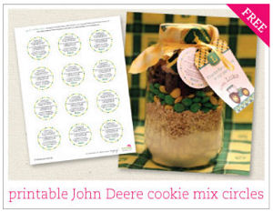John Deere baby shower or party favors with a free printable party circle tag