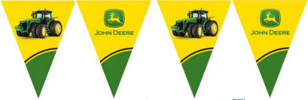 Green and yellow John Deere tractor flag bunting party banner for a baby shower or kids birthday party