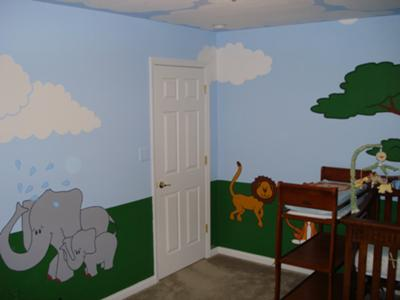 Jungle safari baby nursery wall mural painting with animals, trees and clouds