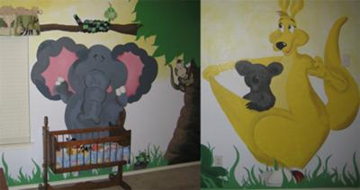 Jungle Animals Baby Nursery Wall Mural w a Mommy Kangaroo, an Elephant and even a friendly Snake in a Tree!