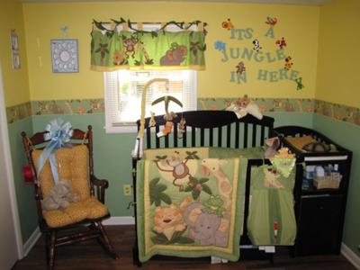 One Wall of Baby Mikey's Jungle Babies Nursery Theme