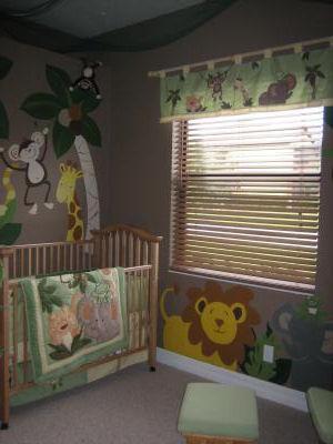 JUNGLE BABY NURSERY THEME with a SAFARI NURSERY WALL MURAL incl MONKEYS, LIONS, GIRAFFES and ELEPHANTS!
