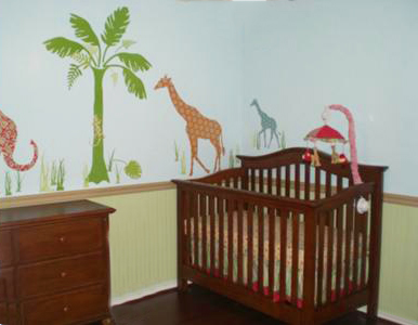 Neutral Green Jungle Safari Baby Nursery Wall Decorating Painting Idea with Elephants, Giraffes, Palm Trees and Lizards