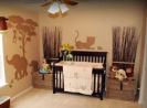 gender neutral baby boy girl tan brown silhouette elephant lion tiger safari jungle nursery zebra animals wild zoo wall stencil mural