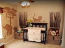 gender neutral baby boy girl tan brown silhouette elephant lion tiger safari jungle nursery zebra animals wild zoo wall stencil mural