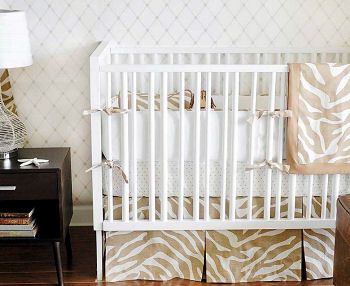 Neutral safari baby crib bedding set for a jungle nursery theme