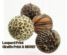 Wild animal giraffe and leopard print paper lanterns decorations for a baby nursery or shower