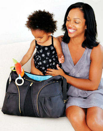 Kalencom Skip Hop Versa Shoulder Diaper Bag in Black will also hang on a stroller
